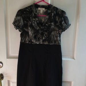 Dress Barn Black & White Short Sleeve V-neck Dress